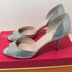 Kate Spade Silver Starlight Bridal Pumps Size 7.5